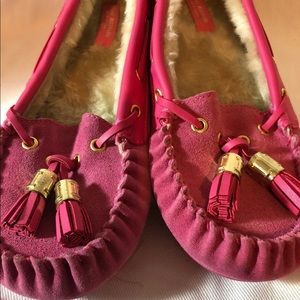Moccasins house slippers pink size 7 New